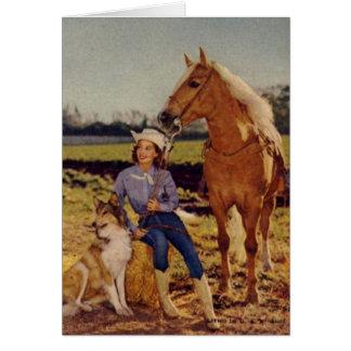 Vaquera del vintage tarjeta de felicitación