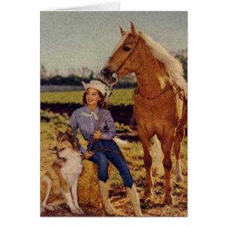 Vaquera del vintage tarjeta pequeña