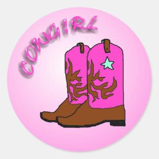 Vaquera, diseño rosado del arte de las botas etiqueta redonda