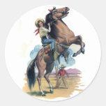 Vaquera en caballo pegatina redonda