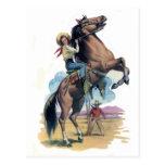 Vaquera en caballo postal