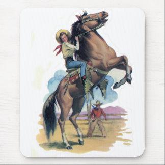 Vaquera en caballo tapetes de ratón