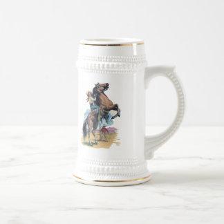 Vaquera en caballo taza de café