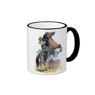 Vaquera en caballo taza de dos colores