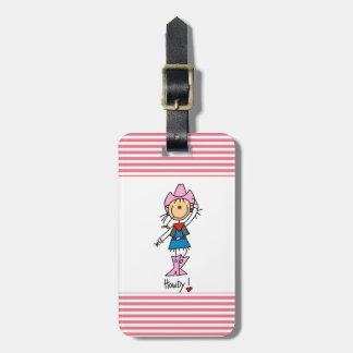 Vaquera en camisetas y regalos rosados etiqueta de maleta