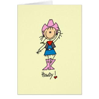 Vaquera en camisetas y regalos rosados tarjeta pequeña