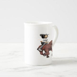 Vaquera en el caballo 2 taza de china