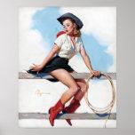 Vaquera en el Pin del vintage de la cerca para arr Poster