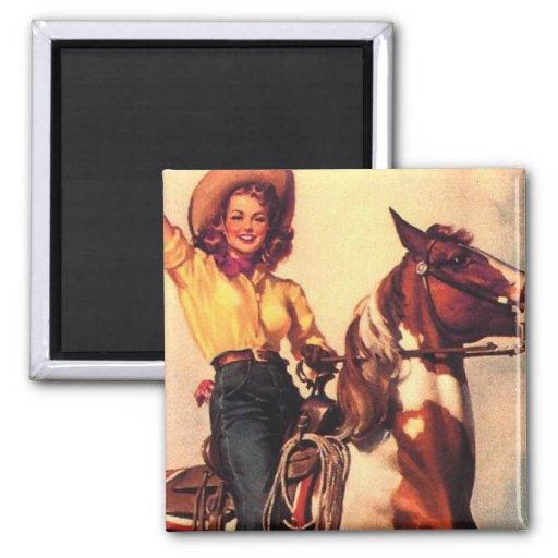 Vaquera en su caballo imán cuadrado
