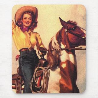 Vaquera en su caballo tapete de ratones