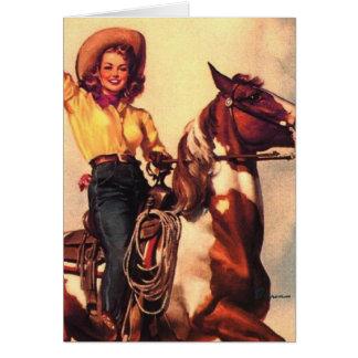 Vaquera en su caballo tarjeton