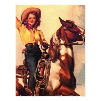 Vaquera en su caballo postal