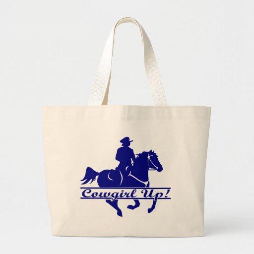 Vaquera encima del caballo y jinete bolsas de mano