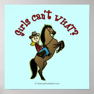 Vaquera ligera en caballo poster