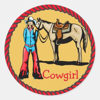 Vaquera occidental del rodeo de los pegatinas con