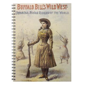 Vaquera occidental del vintage, Srta. Annie Oakley Libros De Apuntes