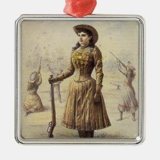 Vaquera occidental del vintage, Srta. Annie Oakley Ornamento Para Arbol De Navidad