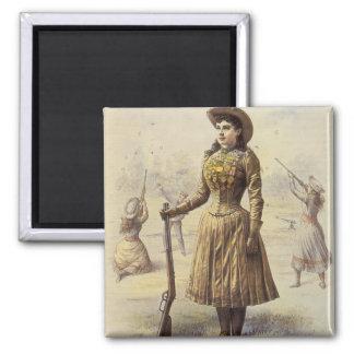 Vaquera occidental del vintage, Srta. Annie Oakley Imán Cuadrado