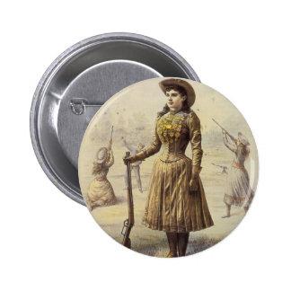 Vaquera occidental del vintage, Srta. Annie Oakley Pin Redondo De 2 Pulgadas