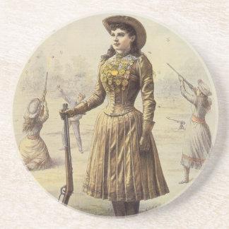 Vaquera occidental del vintage, Srta. Annie Oakley Posavasos Diseño