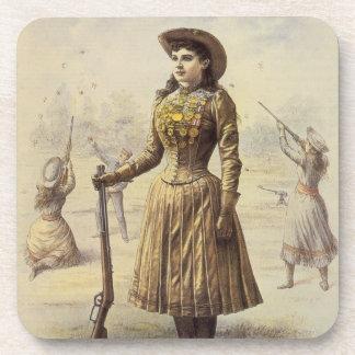 Vaquera occidental del vintage, Srta. Annie Oakley Posavasos De Bebidas