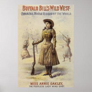 Vaquera occidental del vintage, Srta. Annie Oakley Póster