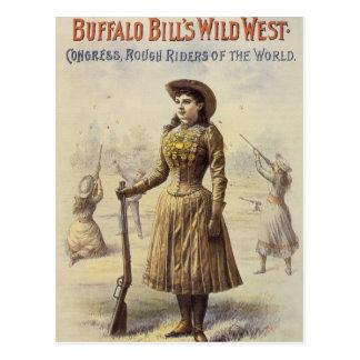 Vaquera occidental del vintage, Srta. Annie Oakley Postal