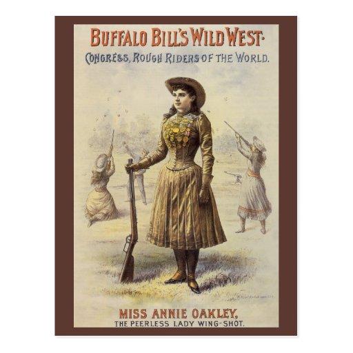 Vaquera occidental del vintage, Srta. Annie Oakley Tarjetas Postales