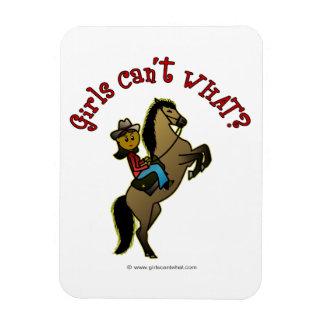 Vaquera oscura en caballo imán de vinilo
