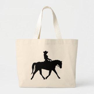 Vaquera que monta su caballo bolsa tela grande