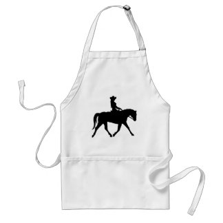 Vaquera que monta su caballo delantal