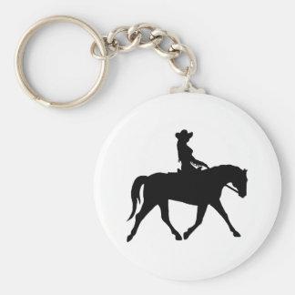 Vaquera que monta su caballo llavero redondo tipo pin