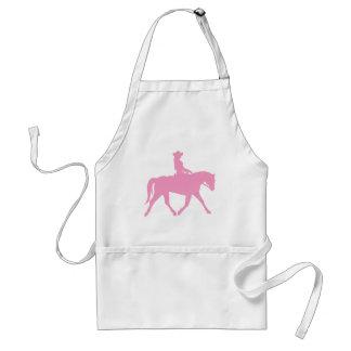 Vaquera que monta su caballo rosa delantales
