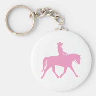 Vaquera que monta su caballo rosa llavero personalizado