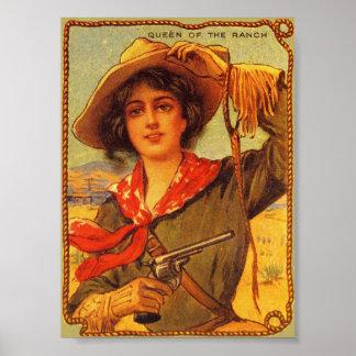 """Vaquera """"reina poster del vintage del rancho"""""""