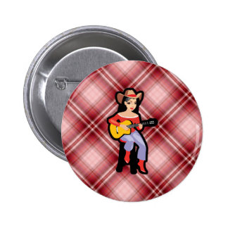 Vaquera roja de la tela escocesa con la guitarra pins