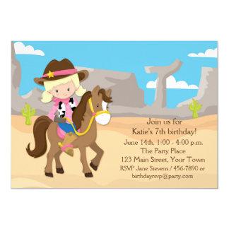 """Vaquera rubia en el caballo, cumpleaños invitación 5"""" x 7"""""""