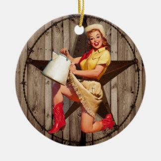 vaquera rústica del país occidental de la moda de adorno navideño redondo de cerámica