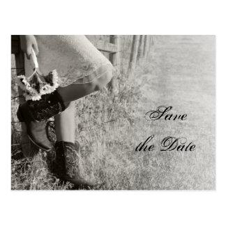 Vaquera y girasoles que casan reserva la fecha postales
