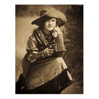 Vaquera y su vintage de seis pistolas tarjetas postales