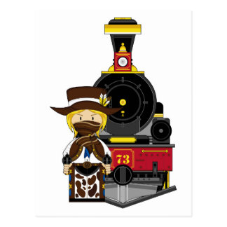 Vaquera y tren lindos del vaquero del dibujo postales