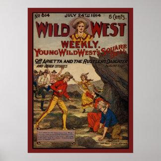 Vaqueras del oeste salvajes de los vaqueros de los póster