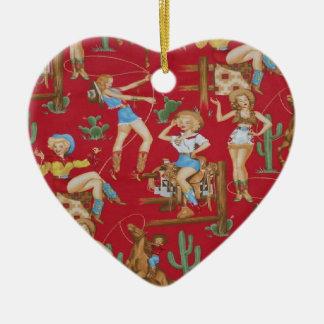 Vaqueras retras del navidad del país adorno de cerámica en forma de corazón