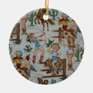 Vaqueras retras del navidad del país adorno redondo de cerámica