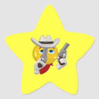 Vaquero 3 del buen chico pegatina en forma de estrella
