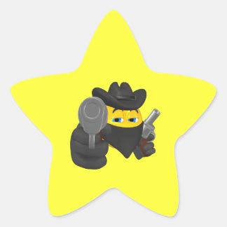 Vaquero 4 del chico malo pegatina en forma de estrella
