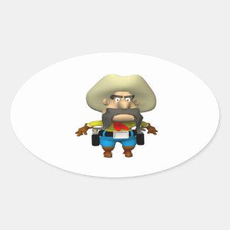 Vaquero 6 pegatina ovalada