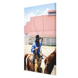 Vaquero a caballo con el lazo, rancho de George, Impresiones En Lona