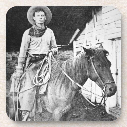 Vaquero americano en Kansas, c.1880 (foto de b/w) Posavaso