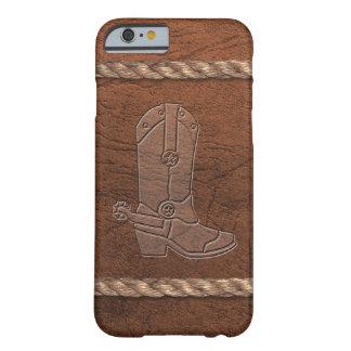 Vaquero/bota, cuero y cuerda occidentales de la funda para iPhone 6 barely there